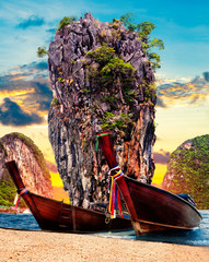 Fototapeta Krajobraz Scenic Phuket landscape.Seascape and paradisiacal idyllic beach. Scenery Thailand sea and island .Adventures and exotic travel concept