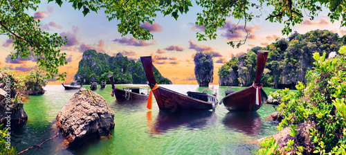 Poster Pistachio Scenic Phuket landscape.Seascape and paradisiacal idyllic beach. Scenery Thailand sea and island .Adventures and exotic travel concept