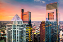 Philadelphia Aerial With Downtown Skyscrapers At Sunset.