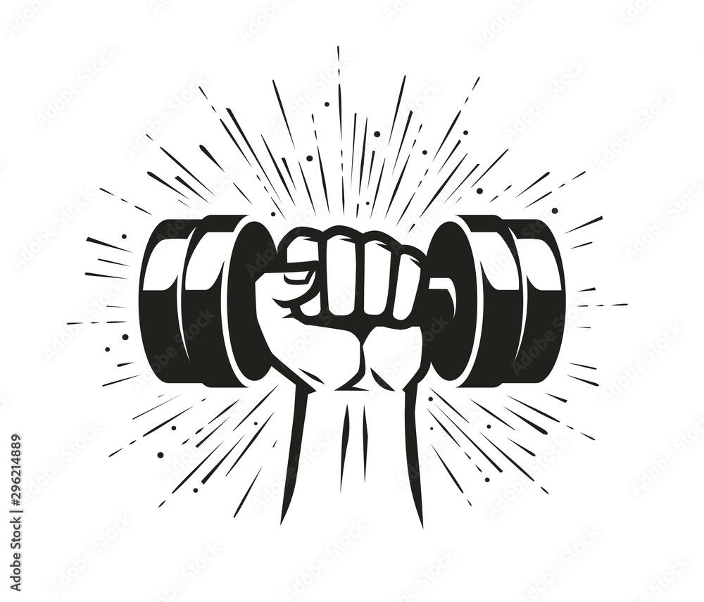 Fototapeta Arm with dumbbell. Gym club, fitness logo. Vector illustration