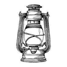 Black And White Hand-drawn Illustration Of An Old Antique Kerosene Lamp Isolated On A White Background