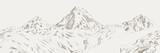 Mountain range climbers with backpacks walking through heavy snow in winter season, Climbing and mountaineering sport, hand drawn vector illustration. Mountain range vector illustration - 296228850