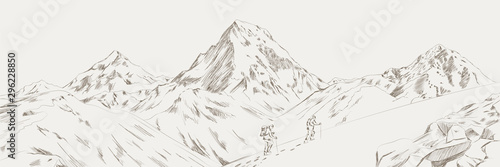 Fotografija Mountain range climbers with backpacks walking through heavy snow in winter season, Climbing and mountaineering sport, hand drawn vector illustration