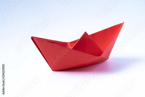 origami red paper boat