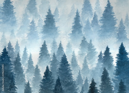 Fototapety, obrazy: Landscape of cloudy winter forest taiga, Hand drawn watercolor illustration