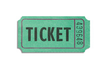 One Green Color Paper Ticket Isolated On White Background