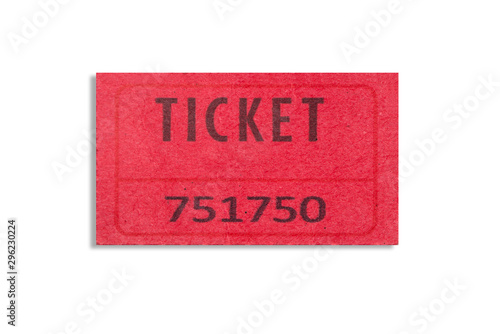 Photo One red color paper ticket isolated on white background