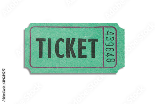 One green color paper ticket isolated on white background Canvas Print