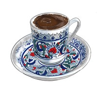 Illustration Of Traditional Turkish Coffee On A White Background