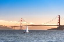 Golden Gate Bridge Sunset With...