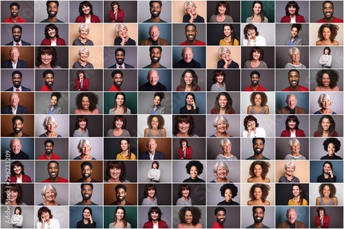 Group of 6 different people in front of a colored background - 296233209