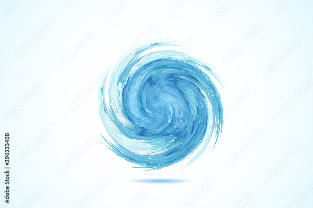 Fototapeta Logo blue spiral waves ocean beach swirl vector web image template