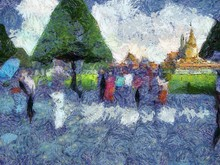 Tourist Groups Traveling At The Grand Palace, Bangkok Illustrations Creates An Impressionist Style Of Painting.