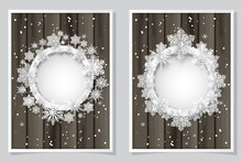 Vector And  Illustration, Set Of Christmas Card With Paper Snowflake Circle Shape On Wooden .