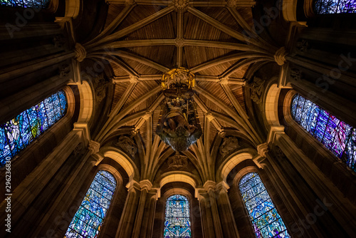 Fototapeta  EDINBURGH, SCOTLAND, DECEMBER 15, 2018: Bottom view of the dome of the Scottish National War Memorial, with an oak carving of St