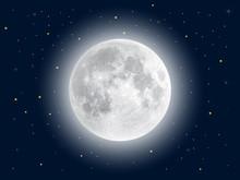 Realistic Full Moon. Vector