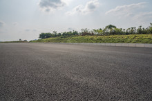 Outdoor Asphalt Road Low Angle...