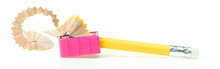 The Yellow Pencil Will Be Sharpened By A Pink Pencil Sharpener On White Background.