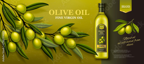 Obraz na plátně Olive oil banner ads