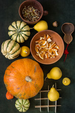 Still Life With Pumpkins And Slices Of Dried Orange And Lemon, Top View.
