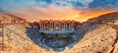 Amphitheater in ancient city of Hierapolis Canvas Print