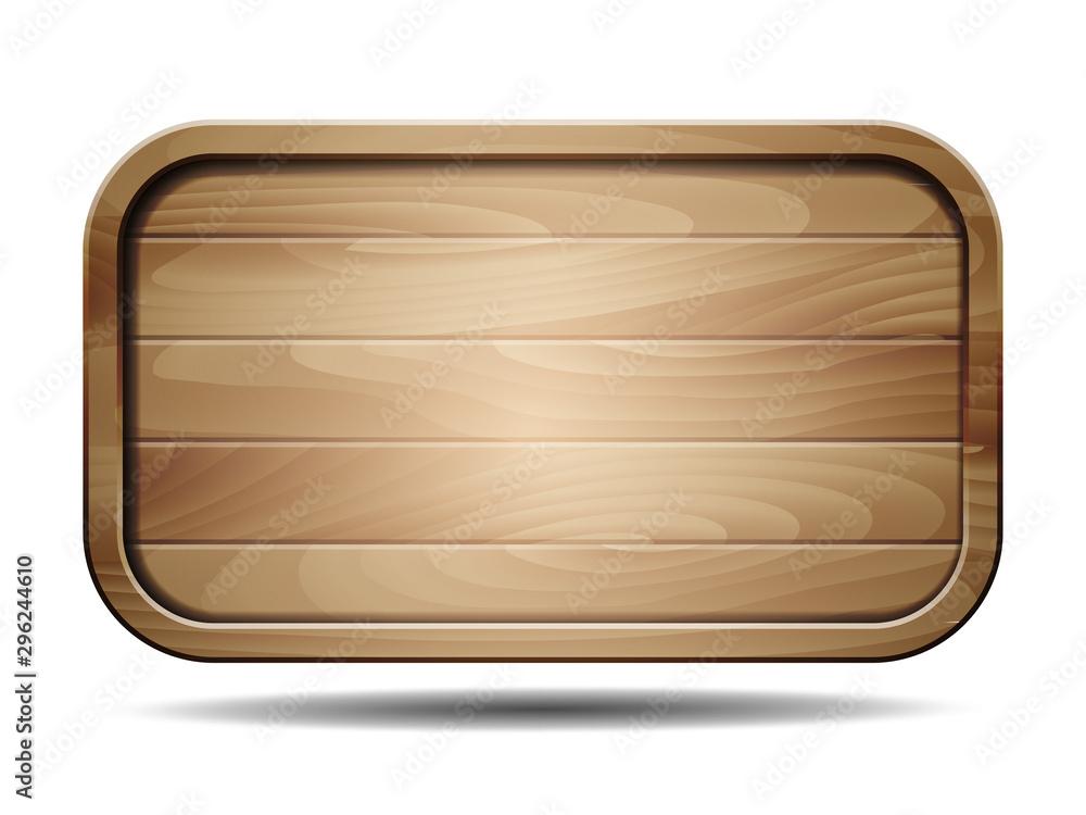 Fototapeta Vector realistic illustration of wooden signboard on white