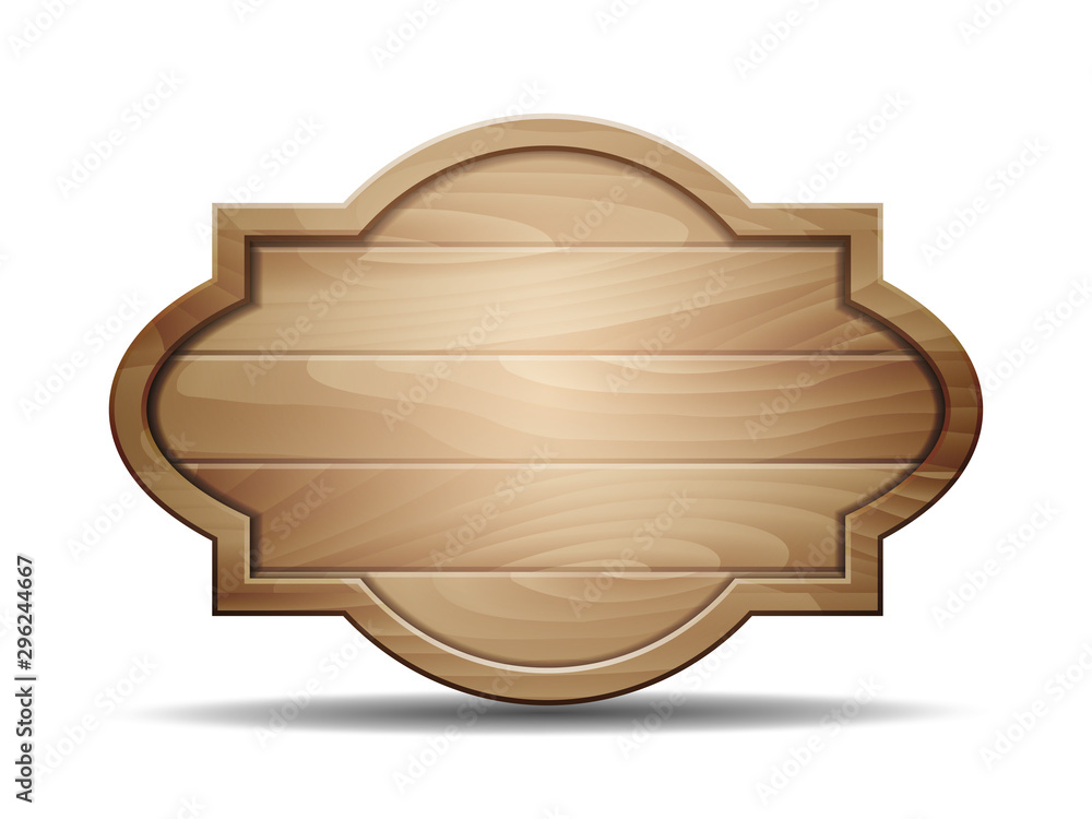 Fototapety, obrazy: Vector realistic illustration of wooden signboard on white