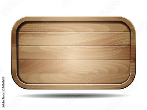 Vector realistic illustration of wooden signboard on white
