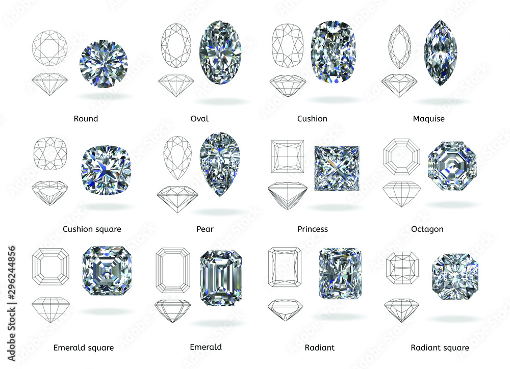 Fototapeta A set of twelve sparkling water diamonds with out line shape of various shapes and designs with their name, Background top view Stock Illustration-3D rendering