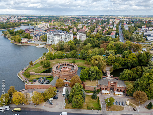 Russia, Kaliningrad. Aerial Photography. Fortress tower dating from the mid-nineteenth century. Located in the center of Kaliningrad on the Verkhneye Lake shore