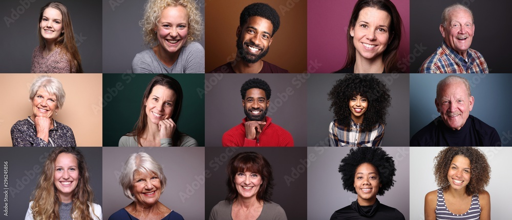 Fototapety, obrazy: Group of 11 different people in front of a colored background