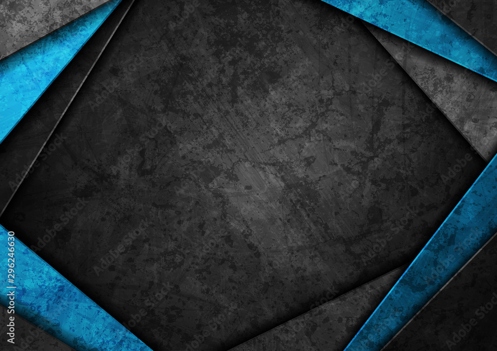 Fototapety, obrazy: Contrast dark grey and blue curved stripes. Abstract grunge tech graphic design. Old wall concrete texture. Vector corporate background