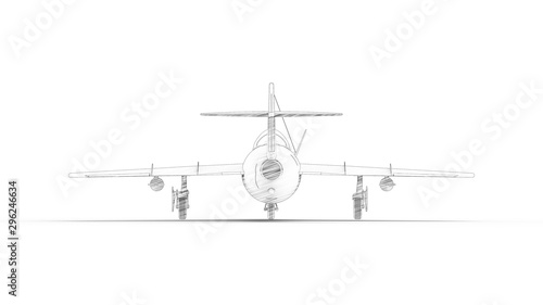 Sketch illustration of a historic fighter airplane in white studio background