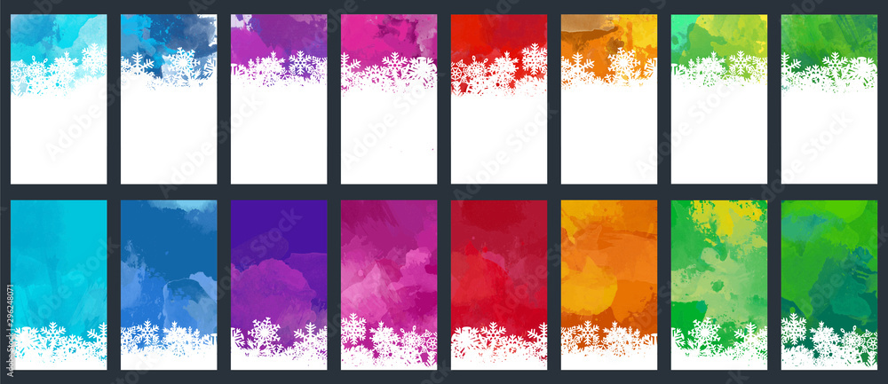Fototapety, obrazy: Christmas and New Year colorful watercolor background set with snowflakes