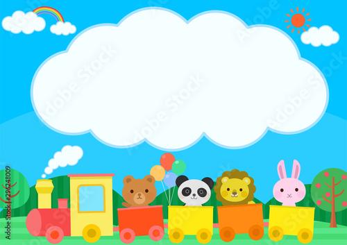 汽車に乗る動物 かわいい 子供向け 雲 文字スペース イラスト Fototapet