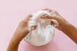 Leinwanddruck Bild - child making slime