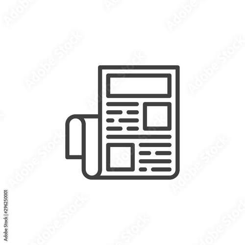 Newspaper with headline article line icon Wallpaper Mural