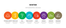 8 Colorful Winter Outline Icon...