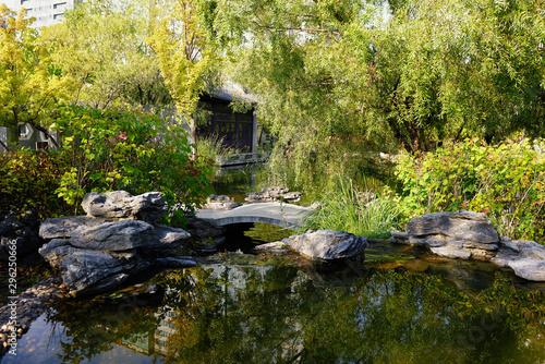 Garden Poster Forest river Chinese garden park in China - Wangjiang Pavilion (Wangjiang Tower) Wangjianglou Park. Chengdu, Sichuan, China, South Korea, Republic of Korea