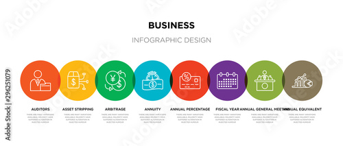 8 colorful business outline icons set such as annual equivalent rate (aer), annu Canvas Print