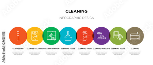 Fotografía  8 colorful cleaning outline icons set such as cleaning, cleaning house, products