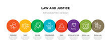 8 Colorful Law And Justice Outline Icons Set Such As Roman Law, Roman Law, Scroll With Siren, Stenographer, Tax Taxes, Terrorism