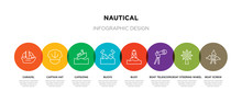 8 Colorful Nautical Outline Icons Set Such As Boat Screw, Boat Steering Wheel, Boat Telescope, Buoy, Buoys, Capsizing, Captain Hat, Caravel