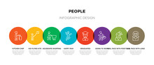 8 Colorful People Outline Icon...