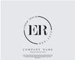 Initial letter ER beauty handwriting logo vector
