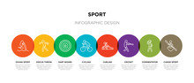 8 Colorful Sport Outline Icons...
