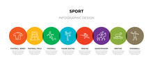 8 Colorful Sport Outline Icons Set Such As Dodgeball, Drifting, Equestrianism, Fencing, Figure Skating, Football, Football Field, Football Jersey