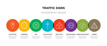 8 Colorful Traffic Signs Outline Icons Set Such As Danger, Degree Curve Road, End Motorway, End Of Way, Falling Rocks, Fire, Forbidden, Gas Station