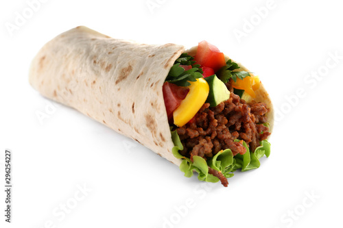Fotomural  Delicious meat tortilla wrap isolated on white