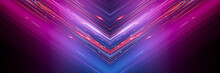 Dark Abstract Futuristic Background. Neon Lines Glow. Neon Lines, Geometric Shapes. Pink And Blue Glow. Abstract Neon Light, Night View.